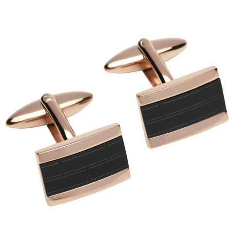 Rose Vermeil & Black Steel Cufflinks