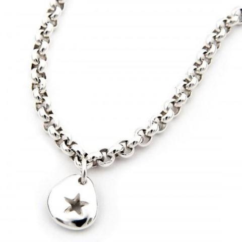 Pebble Star Pendant & Heavy Chain