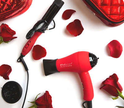 Tourmaline Ceramic Mini Red Curling Iron and Hair Dryer
