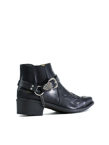 Archie Ankle Cowboy Boot Black - Hiphatter