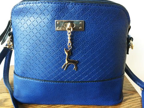 Blue Small Cross Body Handbag with Dear Pendant - Hiphatter