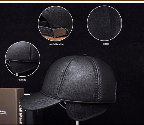 Real Leather Baseball Cap - Hiphatter