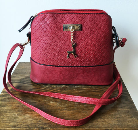 Red Small Cross Body Handbag with Dear Pendant - Hiphatter