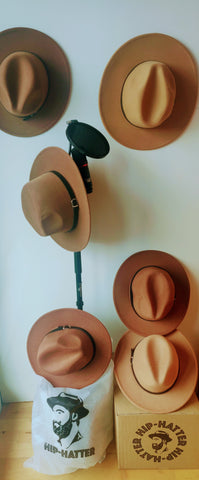 Wide Brim Fedora Hats Tan On Mike Stand - Hip-Hatter