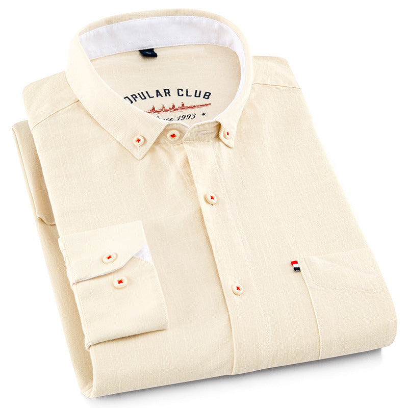 Cotton and Linen Blend Smart Casual Mens Shirt - HipHatter