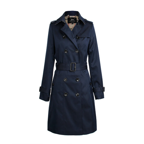 Womens Classic Trench Coat Navy Blue - Hip-Hatter