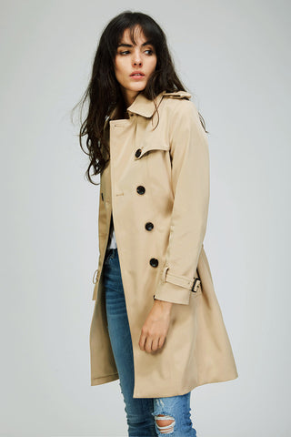 Womens Classic Tan Trench Coat - Hip-Hatter