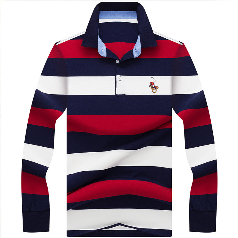 Mens Pony Polo Shirt Striped Slim Fit Long Sleeved - HipHatter