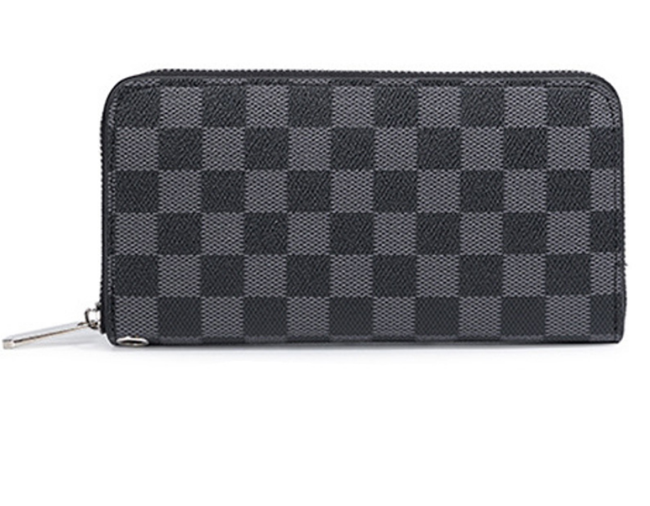 Classic French Grey Checkered Multi Card Long Wallet - HipHatter