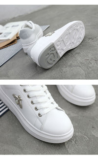 Bee Jeweled White Sneakers - HipHatter