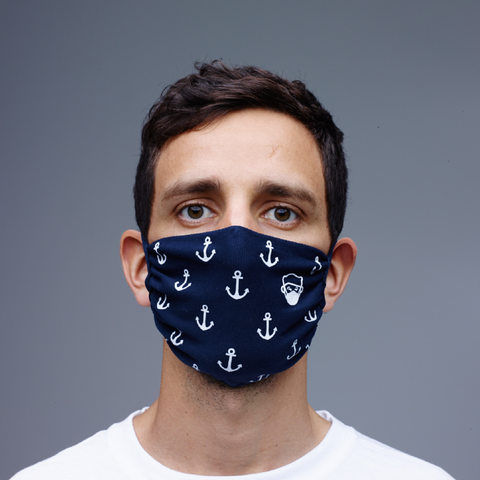 Face Mask (2-Pack) Anchor Navy Blue - HipHatter