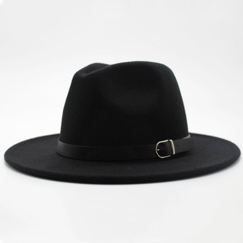 Wide Brim Fedora Hat with Buckle - HipHatter
