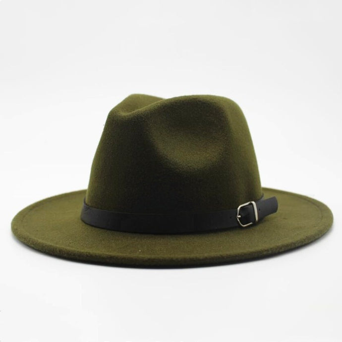 Green-Wide-Brim-Fedora-Hat-Buckle-Mens-HipHatter