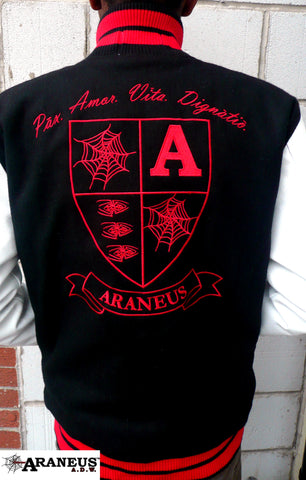 Letterman Varsity Jacket With Leather Sleeves Araneus A.D.W. - HipHatter