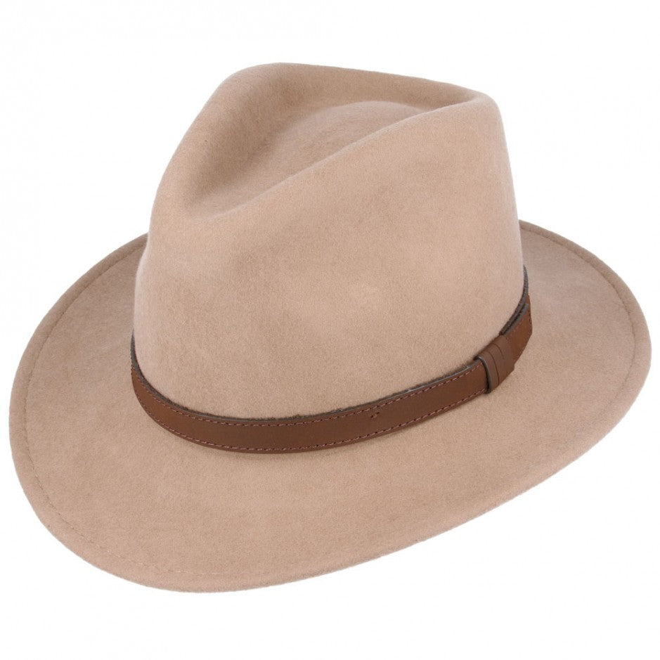 The West Country Walker Wide Brim Fedora Hat Camel - HipHatter