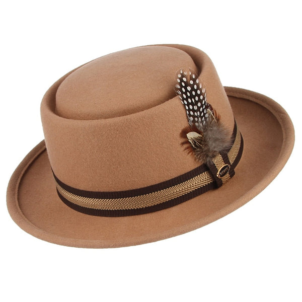 Wide Brim Pork Pie Hat Classic Tan - HipHatter