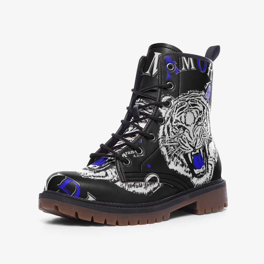Real Tiger Motto Leather Combat Boots - HipHatter