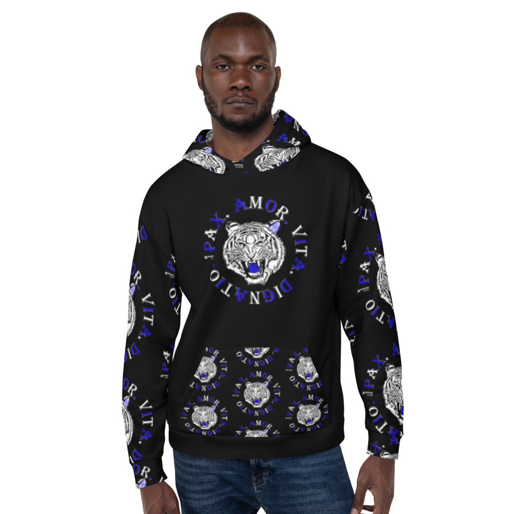 Real Tiger Motto Hoodie Blue - Hiphatter