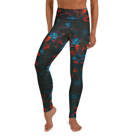 Autumn Flowers Print Yoga Leggings - HipHatter