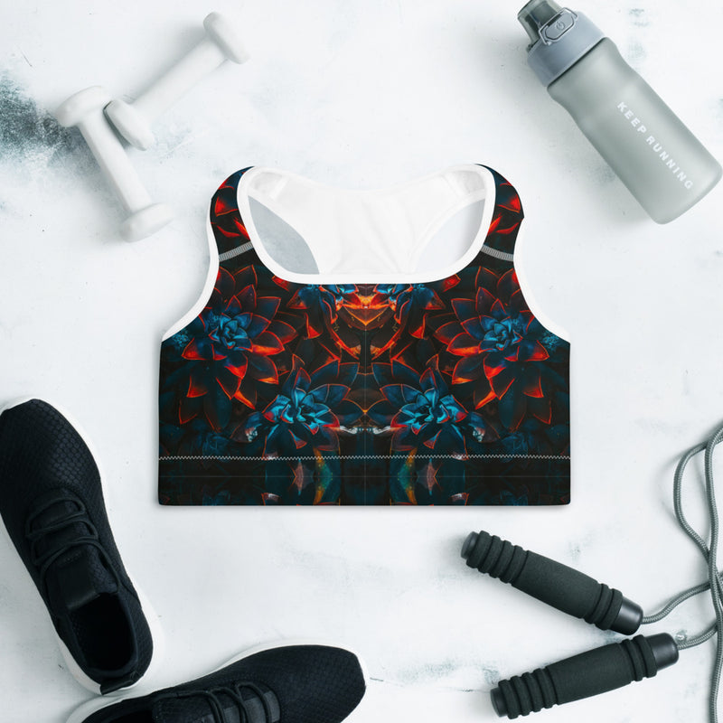 Autumn Flowers Padded Sports Bra - HipHatter