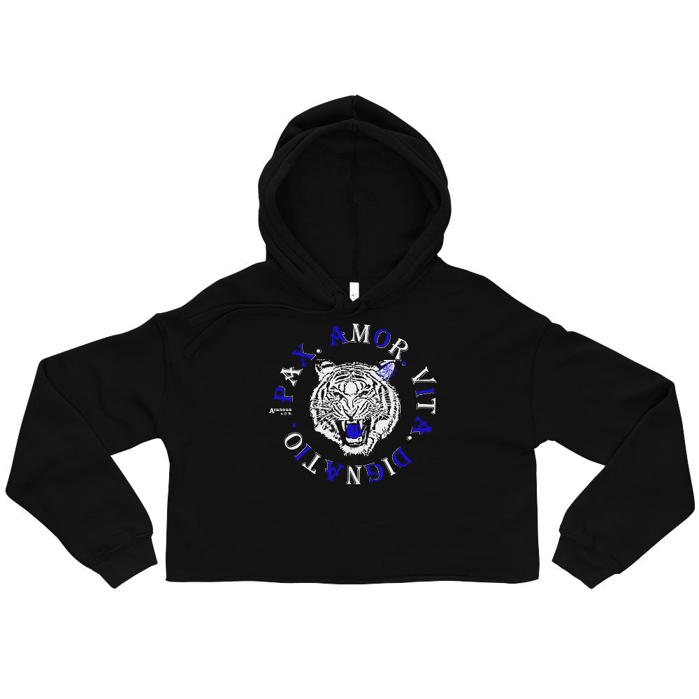 Real Tiger Motto Crop Hoodie - HipHatter