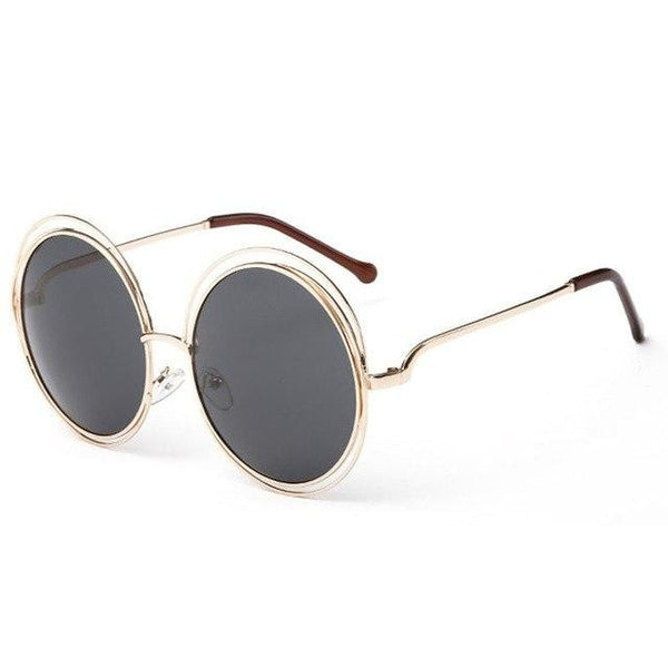 Cleopatra - C2 Gold Frame Grey - Men's & Women's Sunglasses - Round Sunglasses - Crissado