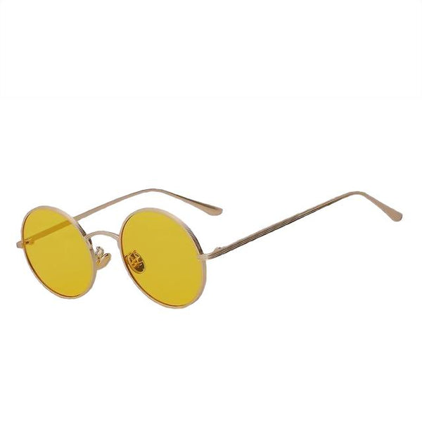 Skizzle - Gold w sea yellow - Men's Sunglasses - Round Sunglasses - Crissado