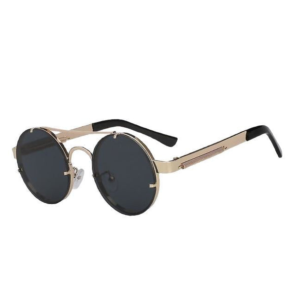 Foxclore - Gold w black lens - Men's & Women's Sunglasses - Steampunk Sunglasses - Crissado