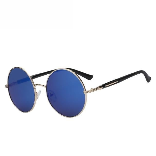 Zelco - Gold w blue mirror - Women's Sunglasses - Round Sunglasses - Crissado