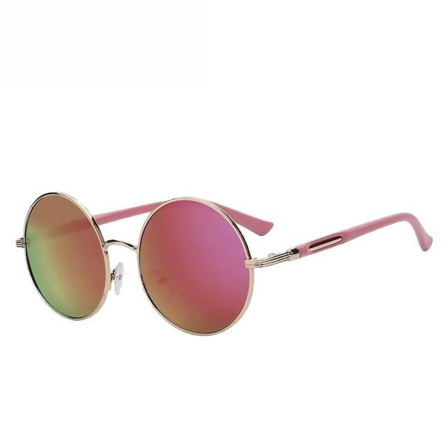 Zelco - Gold w pink mirror - Women's Sunglasses - Round Sunglasses - Crissado