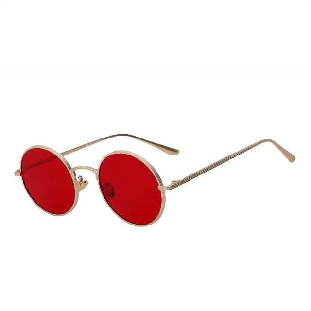 Skizzle - Gold w sea red - Men's Sunglasses - Round Sunglasses - Crissado
