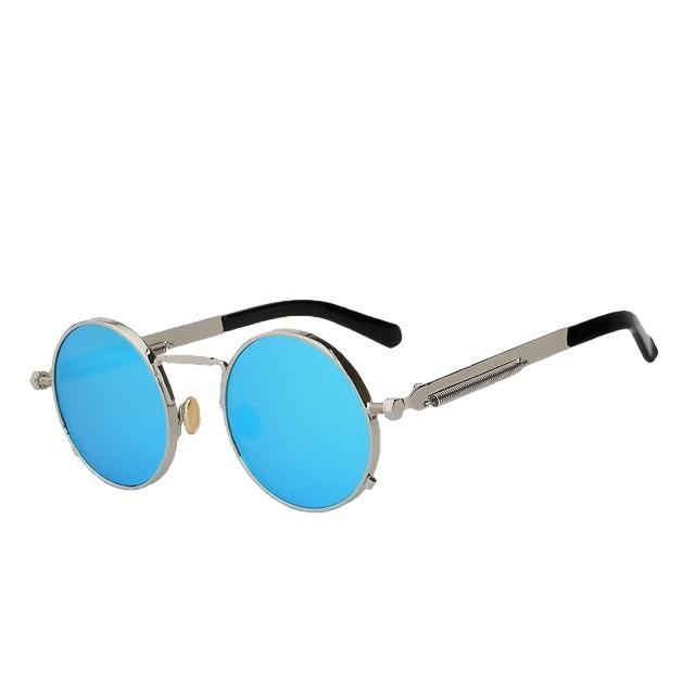 Doggax - Silver w blue - Men's Sunglasses - Steampunk Sunglasses - Crissado