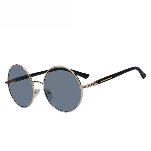 Zelco - Gold w black - Women's Sunglasses - Round Sunglasses - Crissado
