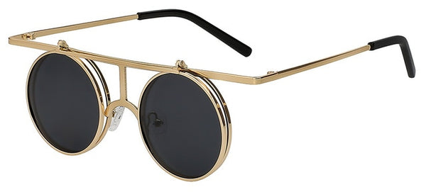 Rictus - Gold  w black - Men's Sunglasses - Steampunk Sunglasses - Crissado