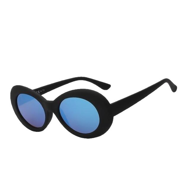 Yodacloud - Black w blue mirror - Women's Sunglasses - Round Sunglasses - Crissado