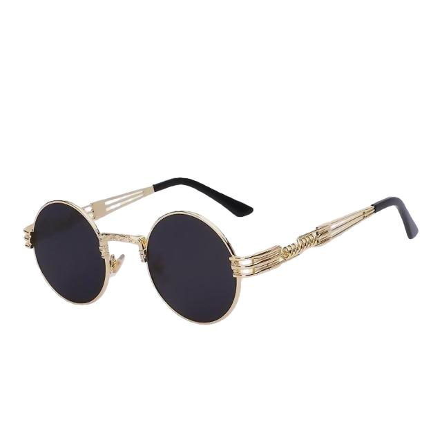 Defas - Gold w black - Men's & Women's Sunglasses - Steampunk Sunglasses - Crissado