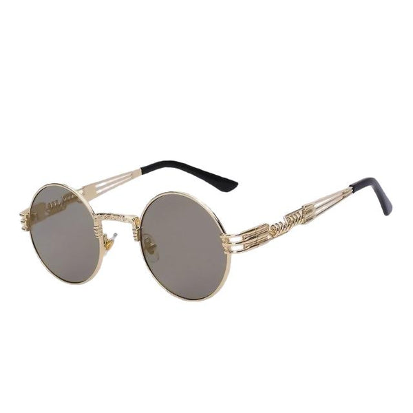Defas - Gold w gold mirror - Men's & Women's Sunglasses - Steampunk Sunglasses - Crissado