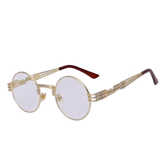 Defas - Gold w clear lens - Men's & Women's Sunglasses - Steampunk Sunglasses - Crissado