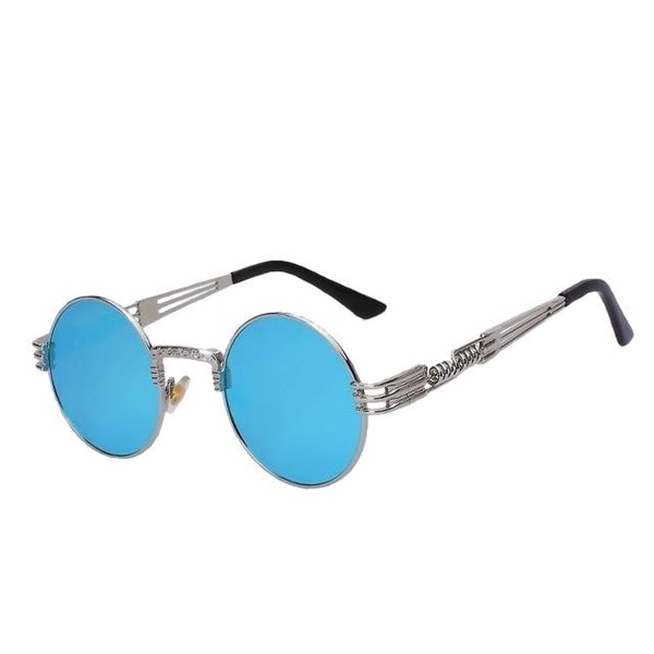 Defas - Silver w blue mirr - Men's & Women's Sunglasses - Steampunk Sunglasses - Crissado