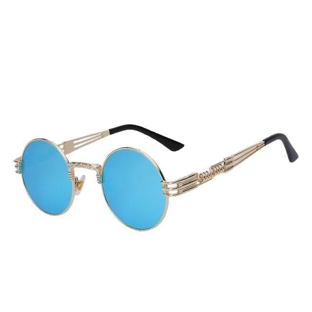 Defas - Gold w blue mir - Men's & Women's Sunglasses - Steampunk Sunglasses - Crissado
