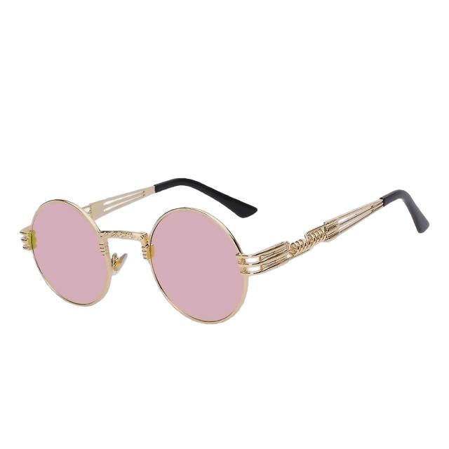 Defas - Gold w pink mir - Men's & Women's Sunglasses - Steampunk Sunglasses - Crissado