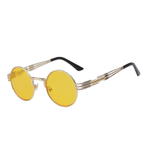 Defas - Gold w sea yellow - Men's & Women's Sunglasses - Steampunk Sunglasses - Crissado