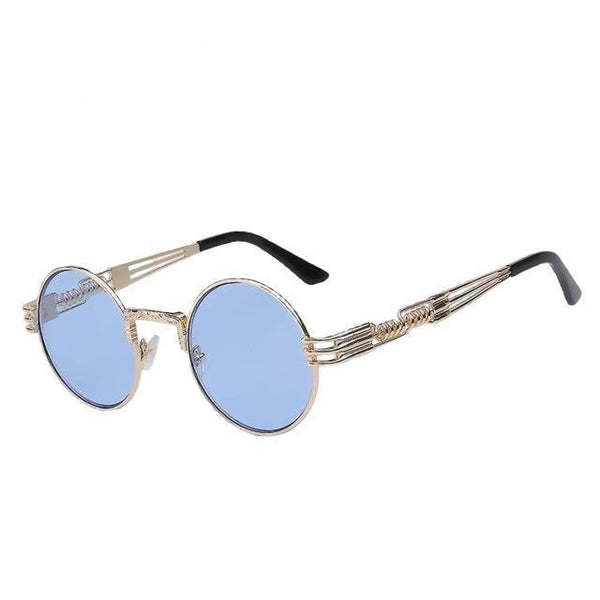 Defas - Gold w sea blue - Men's & Women's Sunglasses - Steampunk Sunglasses - Crissado