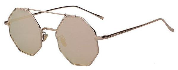 Yodacloud - Gold w pink mirror - Men's & Women's Sunglasses - Round Sunglasses - Crissado