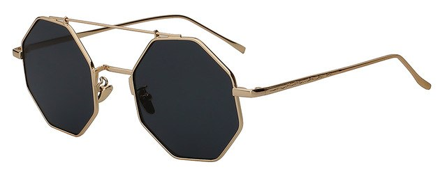 Yodacloud - Gold w black - Men's & Women's Sunglasses - Round Sunglasses - Crissado