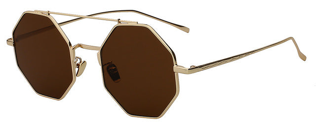 Yodacloud - Gold w brown - Men's & Women's Sunglasses - Round Sunglasses - Crissado