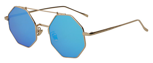 Yodacloud - Gold w blue mirror - Men's & Women's Sunglasses - Round Sunglasses - Crissado