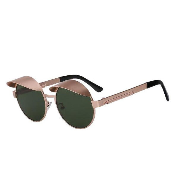 IZZY - Gold w G15 green - Men's & Women's Sunglasses - Steampunk Sunglasses - Crissado