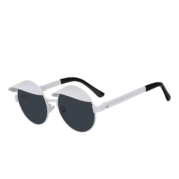 IZZY - White w black - Men's & Women's Sunglasses - Steampunk Sunglasses - Crissado