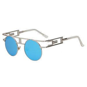 GAMBIT SUNGLASSES-Silver w blue mirror-Lensuit-Round Sunglasses-Lensuit